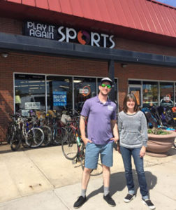 Manger Tom Reynolds and Owner Sue Stapleton outside Play It Again Sports